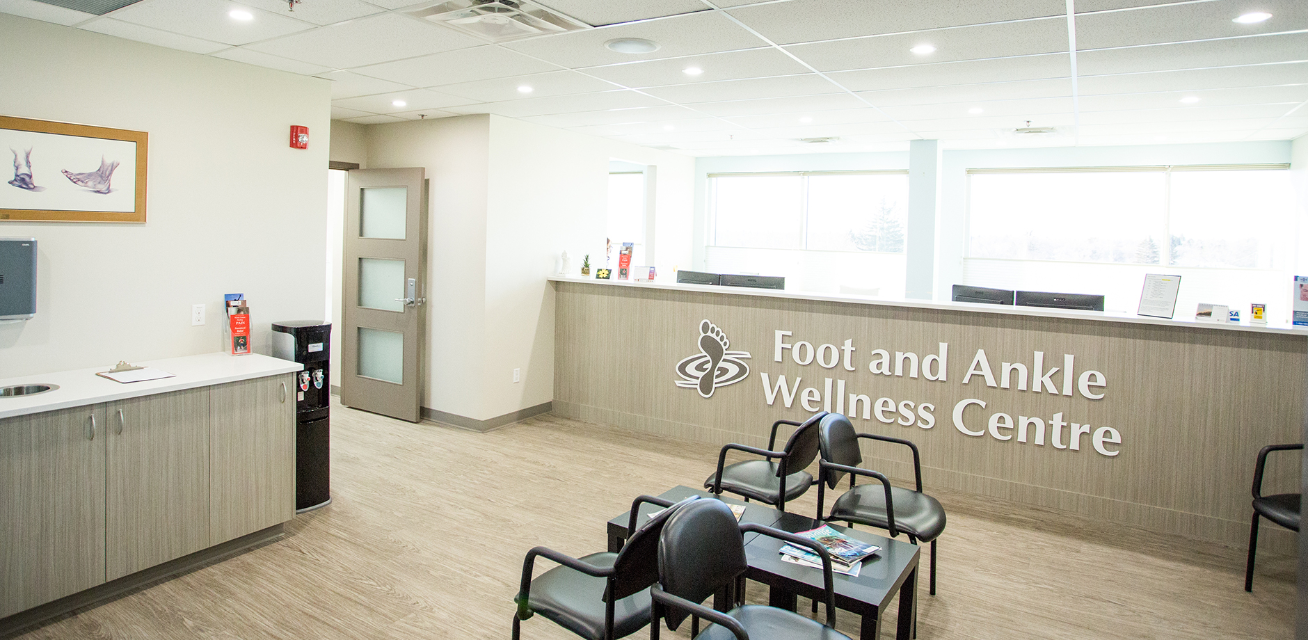 A view of the inside of the Foot and Ankle Wellness Center's waiting room.